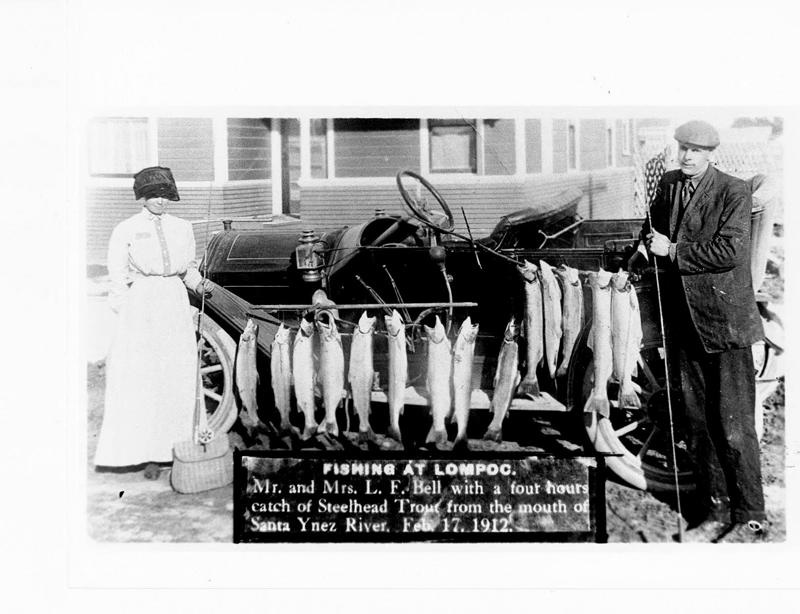 1912 photo of steelhead from the Santa Ynez River. Photo from the Lompoc Valley Historical Society